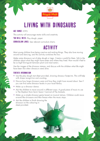 Thumbnail image for the Early Years (EYFS) 1) Living with Dinosaurs Lesson Plan activity.