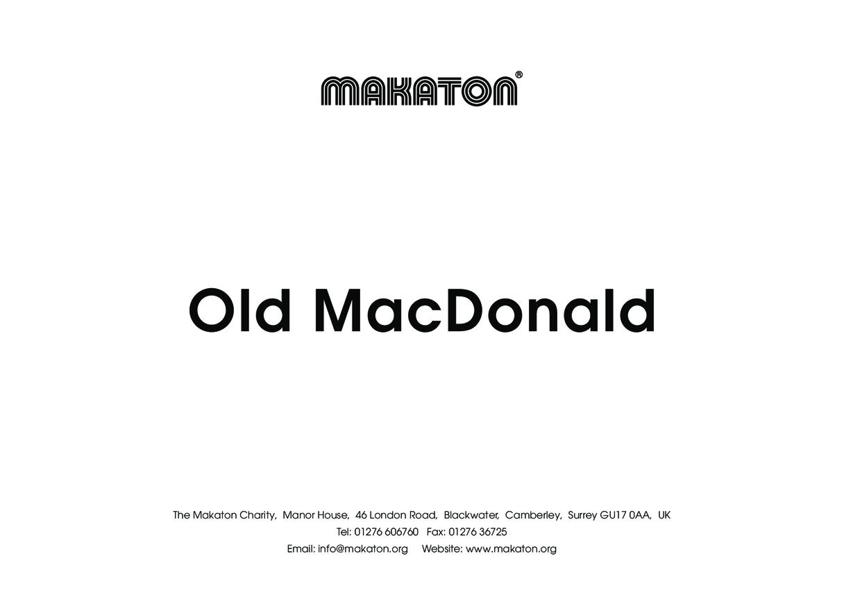 Old MacDonald- Makaton Signs