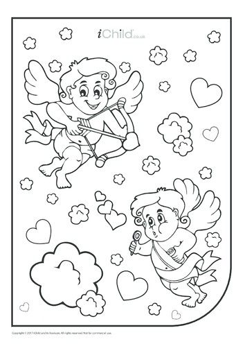 Thumbnail image for the Cupid Colouring in Picture (portrait) activity.