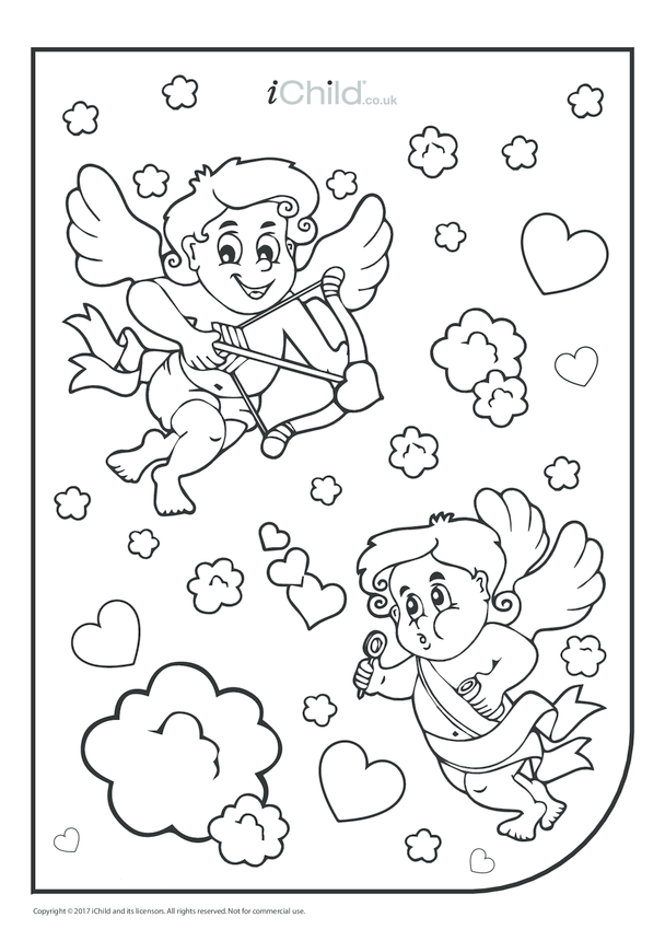 Cupid Colouring in Picture (portrait)