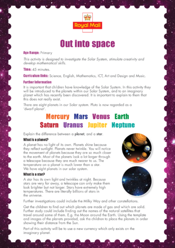 Thumbnail image for the Primary 4) Out Into Space Lesson Plan activity.