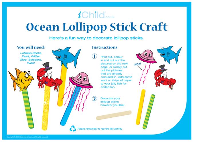 Thumbnail image for the Lollipop Stick Craft - Ocean activity.