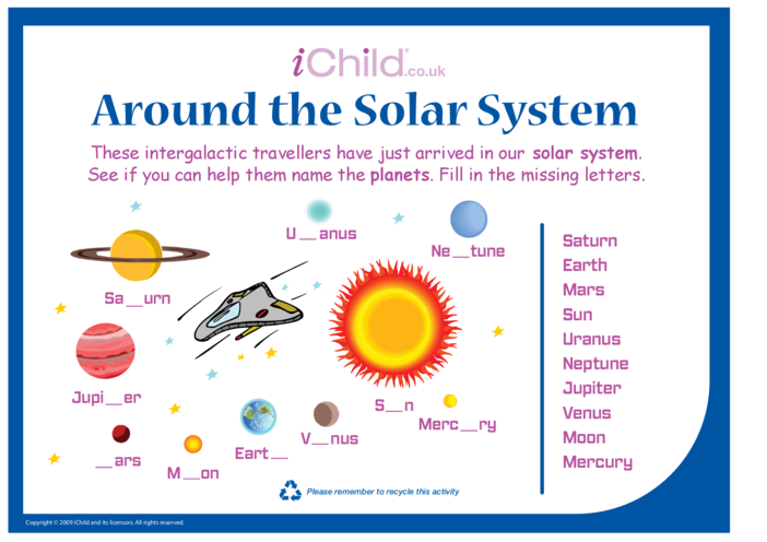 Thumbnail image for the Around the Solar System activity.