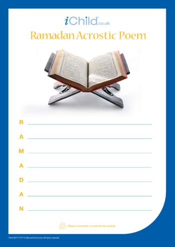Thumbnail image for the Ramadan Acrostic Poem activity.