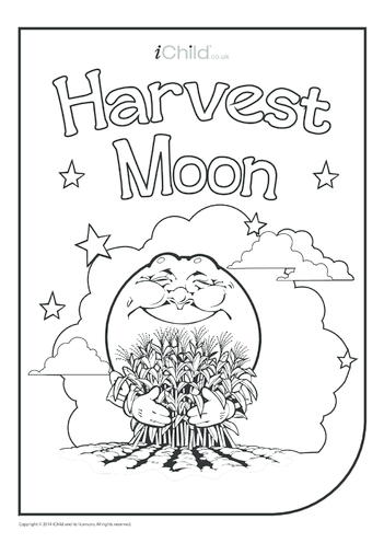 Thumbnail image for the Harvest Moon Colouring in Picture activity.