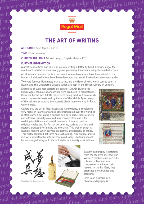 Lesson Plan 5: The Art of Letter Writing