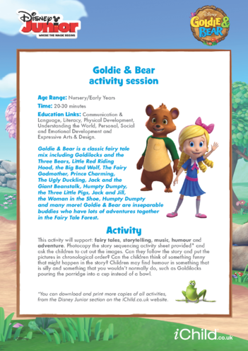Thumbnail image for the Goldie & Bear Activity Session- Disney Junior activity.