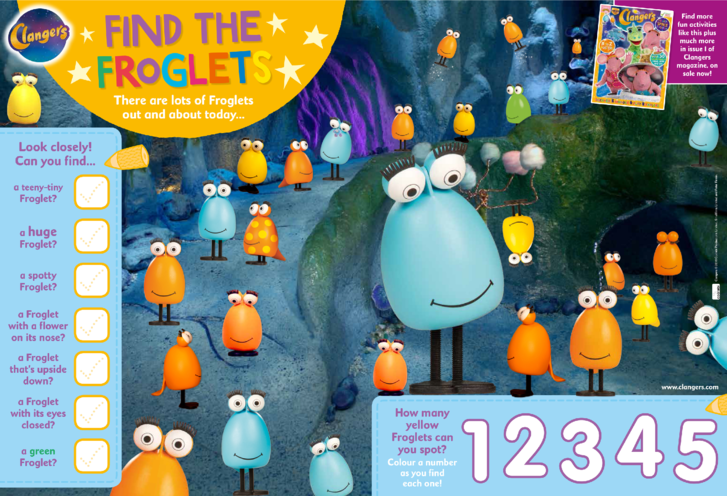 Thumbnail image for the Clangers Find the Froglets activity.