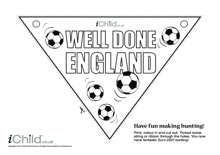 Thumbnail image for the Well Done England Football Bunting (black & white) activity.