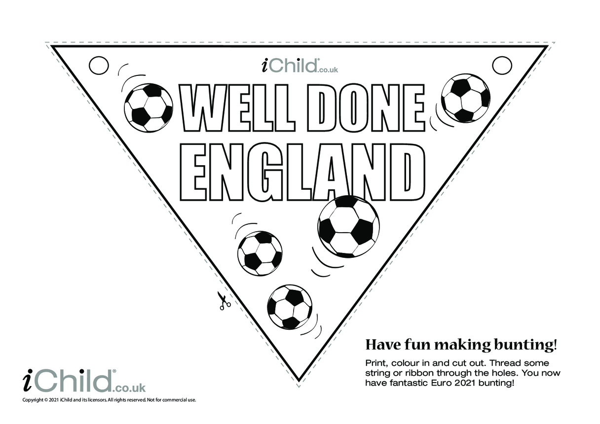 Well Done England Football Bunting (black & white)
